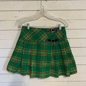 Vintage 90's Clueless Mini Kilt Green Plaid Skirt